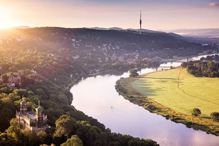 Dresden with view towards Saxon Switzerland