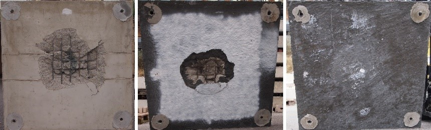 Bottom side of steel reinforced concrete slabs after impact tests (same impact speeds); from left to right: non-strengthened, with subsequent strengthening made of SHCC and SHCC with carbon fiber fabric