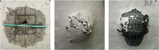 Damage extent in impacted concrete element without and with strengthening layers on the rear side