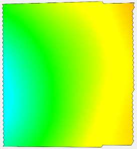 Result of a pilot study (IPF, TUD): sequential deformation states (colour-coded) of a membrane, obtained from stereo high-speed camera image sequence data processing (ca. 10x10cm2, vertical deformation ca. 3mm, 2500 Hz). (State 1)